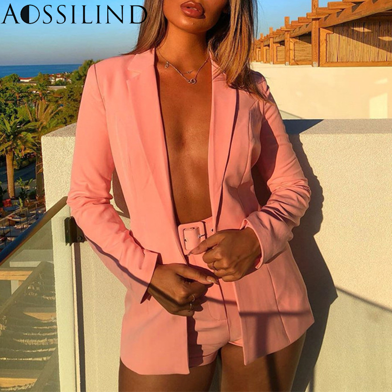 AOSSILIND Sexy Two Piece Set Women Suit 2019 Autumn Long Sleeve Blazer And Pants Set Casual OL Suits