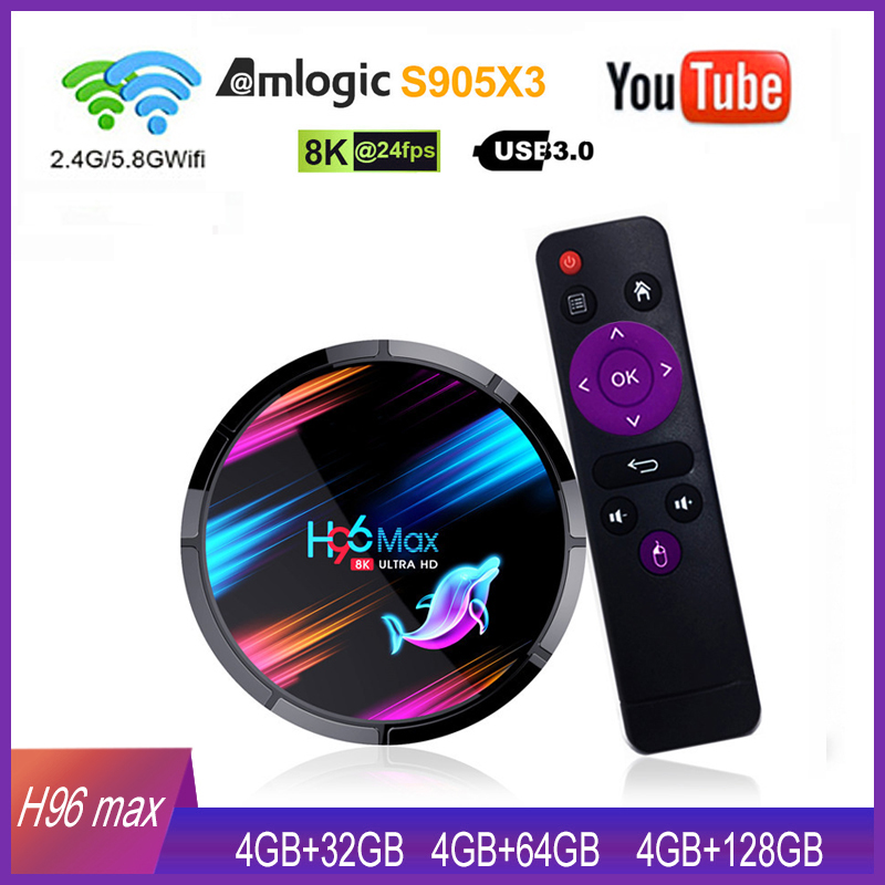 Android 9,0 H96 MAX X3 Smart TV Box 4GB 128GB Amlogic S905X3 2,4G/5G WIFI BT 4,0 1000M 8K Google Media Spielen