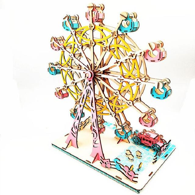 لغز ثلاثي الأبعاد دُولابٌ دَوّار نموذج تجميعي خشبي متين هدايا عيد الميلاد تطوير القدرة العملية الإبداعية لتزيين سطح المكتب