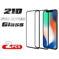 Protector de pantalla de vidrio templado para móvil, película protectora de vidrio 21D para iPhone 11, 12 Pro Max, 6, 6S, 7, 7S, 8 Plus, X, XS, 12 Mini