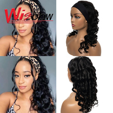 Funmi Curly Headband Wig For Women Human Hair Curly Wig Brazilian Romance Weave Wig No Glue Machine Made Headband Wig Ombre Wig