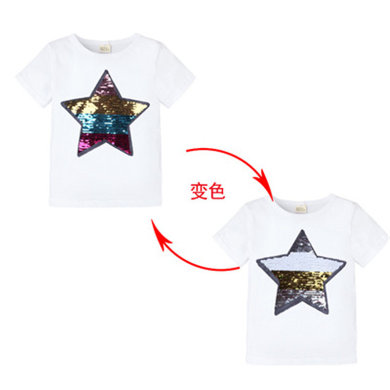 Summer T-Shirt Boys Superhero Sequin Reversible Tops Tees Kids Spiderman Face-changing Captain America T Shirt Children Clothes