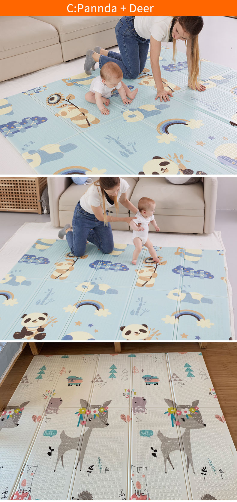 H0fd49da6e79c4bb085973a6f0a87131eb 180X200CM Baby Mat 1CM Thickness Cartoon XPE Kid Play Mat Foldable Anti-skid Carpet Children Game Mat