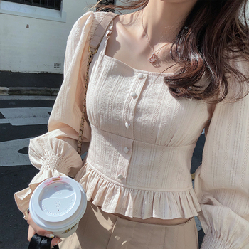 Mishow 2019 New Autumn Women's Retro Blouse Korean Slim Fit Square Collar Puff Sleeve Solid Female Tops Shirt MX19C4970