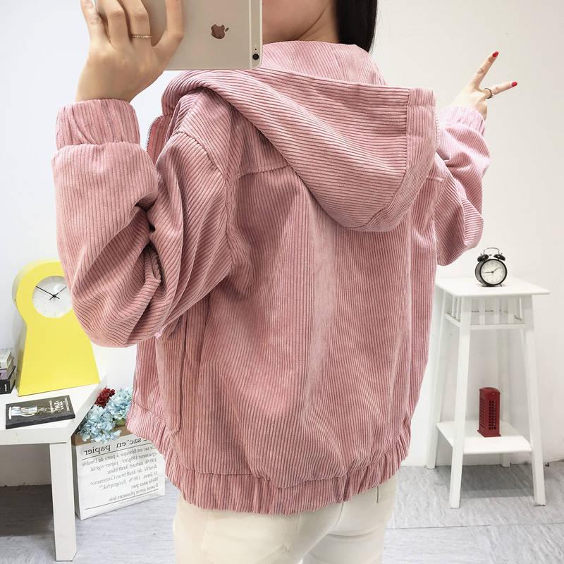 H0fd4a59e894c44199edb407584e15690h Jacket Chaqueta Coat  Clothes Streetwear New 2019 Women Jacket Long Sleeve Turn-down Collar Outerwear Brown Corduroy Coat Jacket