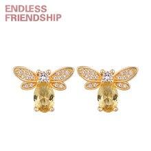 Endless Friendship Woman Golden Bee Earring Creative Earrings for Women Little bee Crystal Zircon Honey Lovely Gifts цена 2017