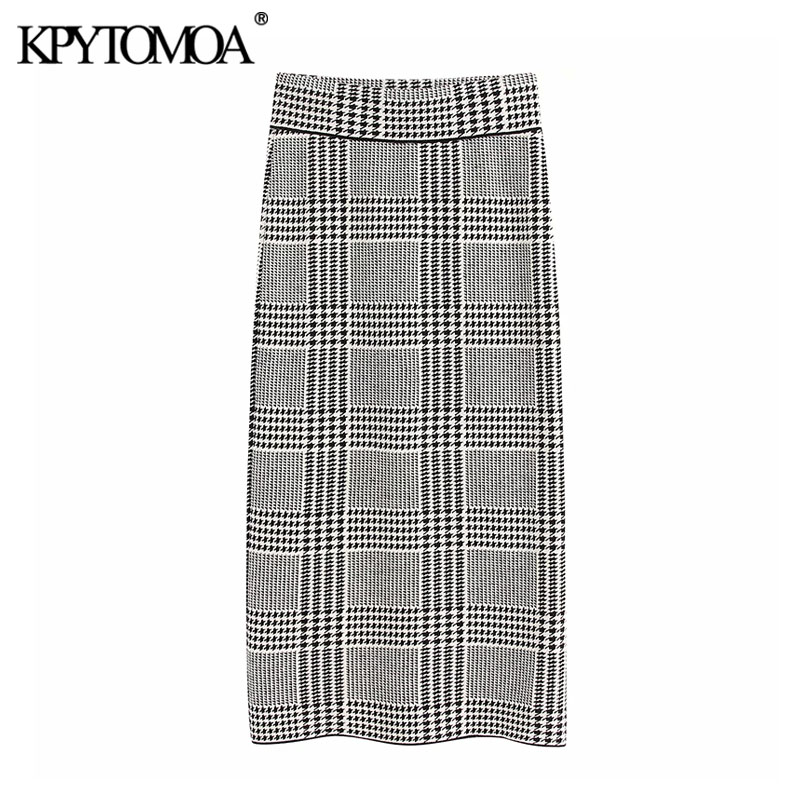 Vintage Stylish Houndstooth Knitted Midi Pencil Skirt Women 2020 Fashion Elastic Waist Office Wear Female Skirts Faldas Mujer