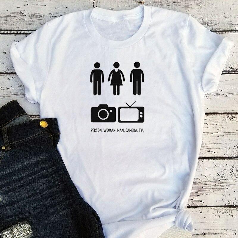 Человек женщина мужчина камера ТВ когнитивный тест тройник Harajuku Женская футболка 90s письмо Трамп 2020 рубашка размера плюс тройники для женщи...