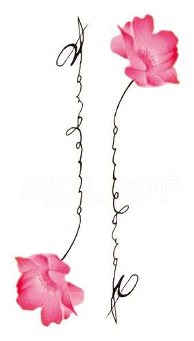 Tattoos Sticker pink rose plant flower letter Little Element Body Art Water Transfer Temporary Fake tatto for kid girl boy 3