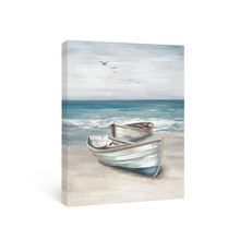 Beach Wall Art Canvas Painting Boat Ocean Posters and Prints Blue Bathroom Artwork Pictures for Bedroom Living Room House Decor