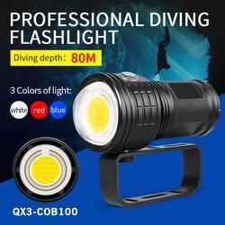 Новый Дайвинг светодиодный тактический вспышки светильник 11000 люмен светодиодный COB длинный выстрел подводный 80 м Водонепроницаемый фотос...