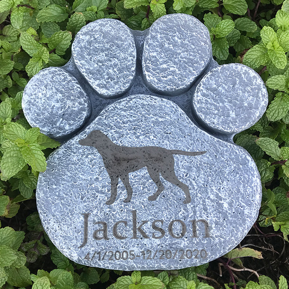 Personalized Dog Pet Memorial Stone Big Dog Paw Shaped Dog Pet Grave Marker For Sympathy Pet Loss Gift for Dog 1-22 patterns