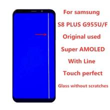 Orijinal AMOLED hattı Samsung Galaxy için S8 artı G955A G955U G955F LCD ekran dokunmatik ekran Digitizer meclisi