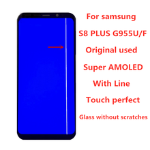 삼성 갤럭시 S8 플러스 G955A G955U G955F LCD 디스플레이 터치 스크린 디지타이저 어셈블리에 대 한 라인 원래 AMOLED