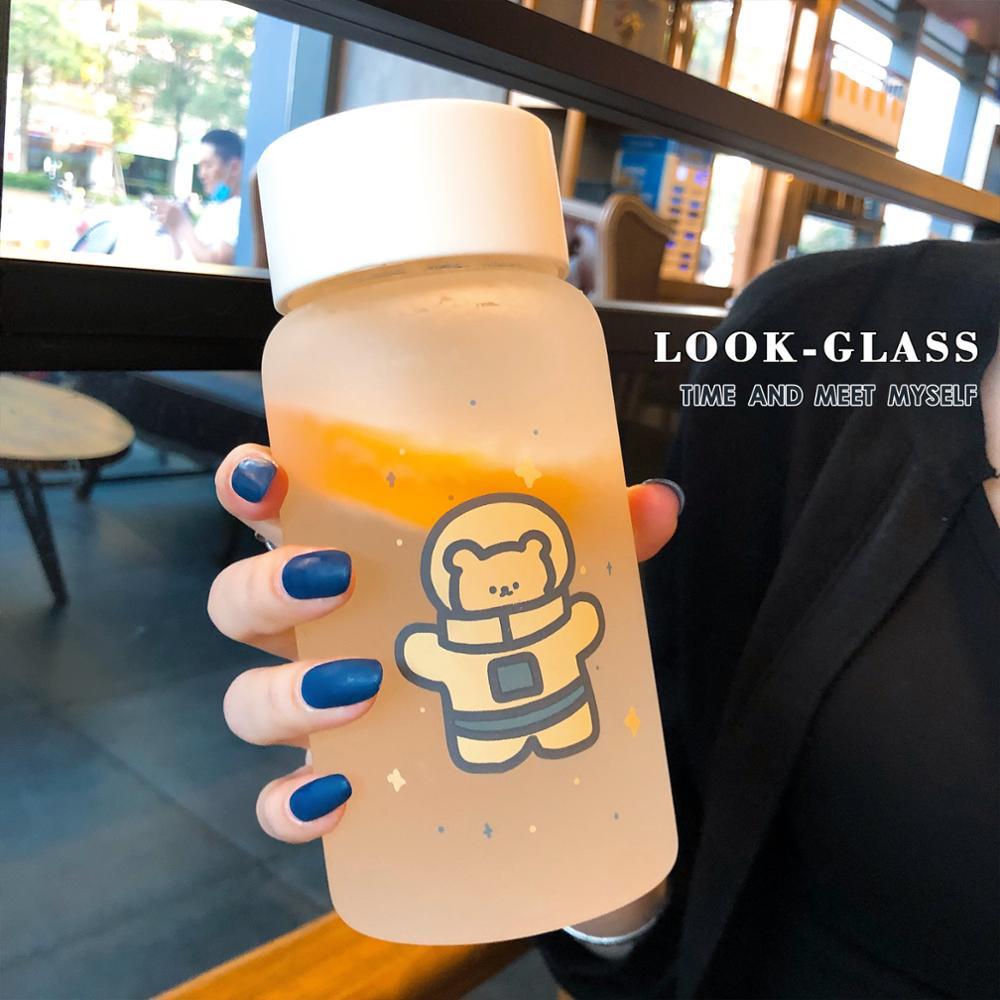 500ml Creative Astronaut Water Cup Glass Bottles Kawaii Water Bottle Eco Friendly Glass Glasses Cute My Bottle Cups Waterbottle