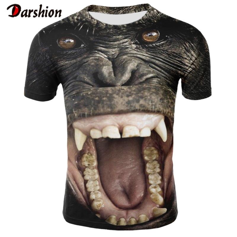 Fashion T Shirt 3D Orangutan T Shirt Newest Animal 3D T Shirt Monkey Short Sleeves Male Summer Tops Tees 4XL Camiseta Masculina