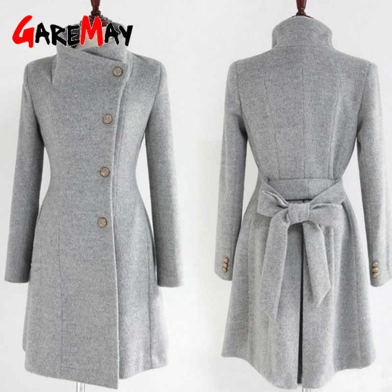 GareMay الشتاء المرأة مزيج معطف التلبيب الصوف خندق سترة طويلة الأكمام أنيقة سميكة الدافئة طويلة بحزام معطف الإناث كيب عباءة