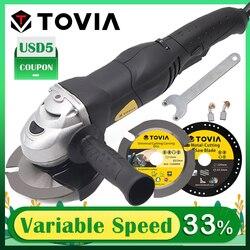 TOVIA 125mm szlifierka kątowa 950W szlifierka do cięcia drewna kamień metalowy M14 szlifierka zmienna prędkość 3000 10500RPM szlifierka 220V w Młynki od Narzędzia na