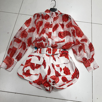 DEAT 2021 New Summer Fashion Casual Patchwork Loose Print Long Lantern Sleeve Shirt  Shorts Two Piece Set Women SD366 1