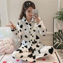 Women Pajamas Sets Autumn Winter Pajamas Thick Warm Women Sleepwear Pijamas Cute Female Cute Animal Homewear cute female