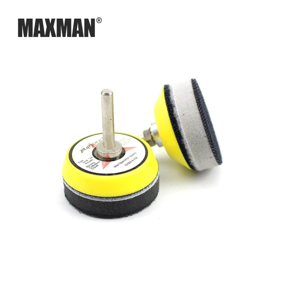 MAXMAN 1 Set Of 2 Inch (50 MM) Soft/Hard Sponge Interface Pad + 6 MM Tray For Velcro Sand Disc Grinder Sander Wheel