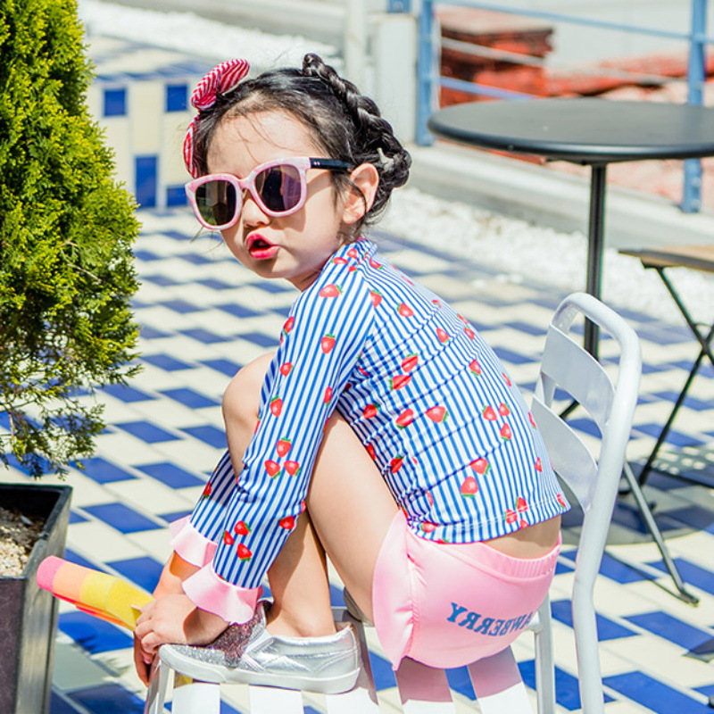 2018 New Style KID'S Swimwear Printed Girls Split Type Sun-resistant Bathing Suit Dress Small Middle And Large Skirt Baby-Swimwe