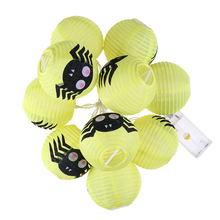 LED Halloween Paper Lanterns Light-emitting Folding Portable Spider Scene Arrangement Decorative Lamp String 10pcs