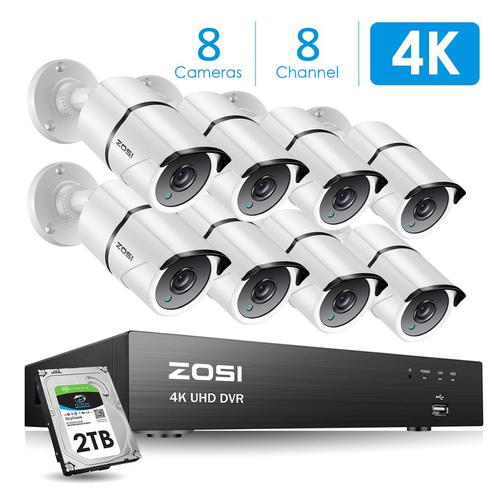 ZOSI 4K 8CH Ultra HD cámara de CCTV SISTEMA DE H.265 + Kit DVR con 2TB HDD 8 Uds 8MP TVI al aire libre casa seguridad Video vigilancia sistema