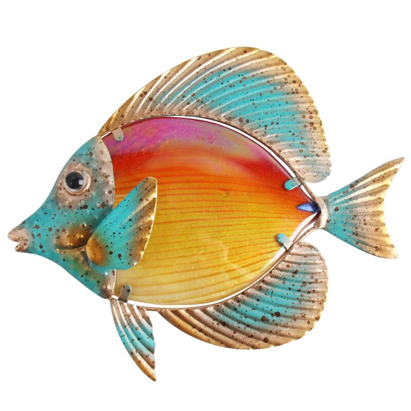 Home Decor Metal Fish Artwork for Garden Decoration Outdoor Animales Jardin with Colour Glass for Garden Statues and Sculptures 2