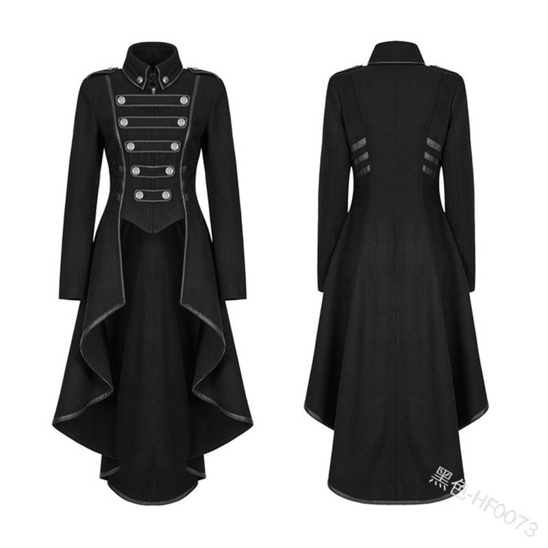 H0fd5f0ebdd4341c6b4d547bcda98dda01 JIEZuoFang Black Medieval Dress For Adult Women Punk Victorian Retro Costume Renaissance Gothic Jacket Tuxedo Halloween Costumes