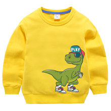 Boys Hoodies Sweatshirt Outerwear  Kids Clothes Girls Children Tops Clothing Cotton Print Dinosaur Yellow Teenage