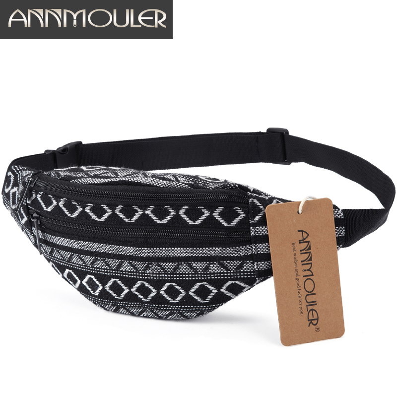 Annmouler Fashion Women Waist Bag Small Size Fanny Bag Pack Adjustable Phone Pouch Double Zipper Belt Bag Tribal Waist Pack Bag