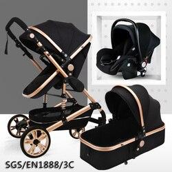 Multifuncional 3 em 1 carrinho de bebê alta paisagem carrinho de criança dobrável carrinho de bebê carrinho de bebê de ouro recém nascido