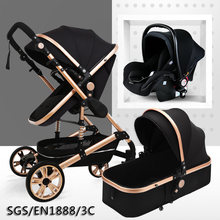 Multifunctional 3 in 1 Baby Stroller High Landscape Stroller Folding Carriage Gold Baby Stroller Newborn Stroller(China)