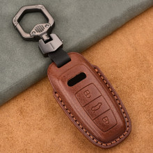 Genuine Leather Car Key Cover Key Case for Audi A6 C8 A7 A8 Q8 2018 2019 2020 Key Case Protect Keychain Key Ring