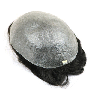 Image 5 - Stock Human hair Wigs For Men Mens toupee Top Hair Piece Super Thin Skin Toupee Peruvian Remy Hair Comfortable Mens Wig