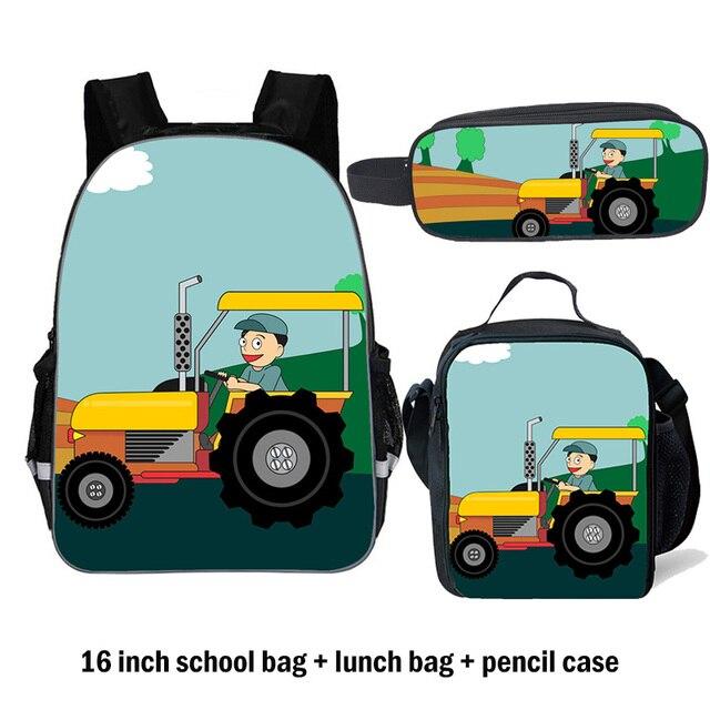 2019 Kids School Bag for Boys/Girls Tractor Schoolbag 11/14/16/18 inch Black Backpack Set Fashion Children School bags