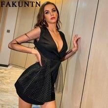 Женское платье fakuntn новинка 2021 соблазнительное мини с глубоким