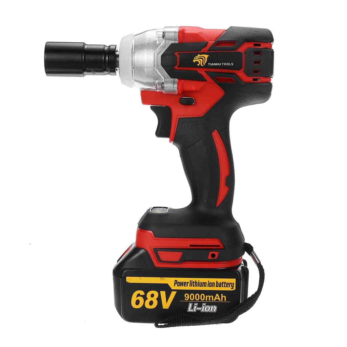 68V 9000mAh Cordless Impact Electric Wrench Brushless Socket Wrench Hand Drill Installation 520N.M Power Tools For Car/SUV Wheel