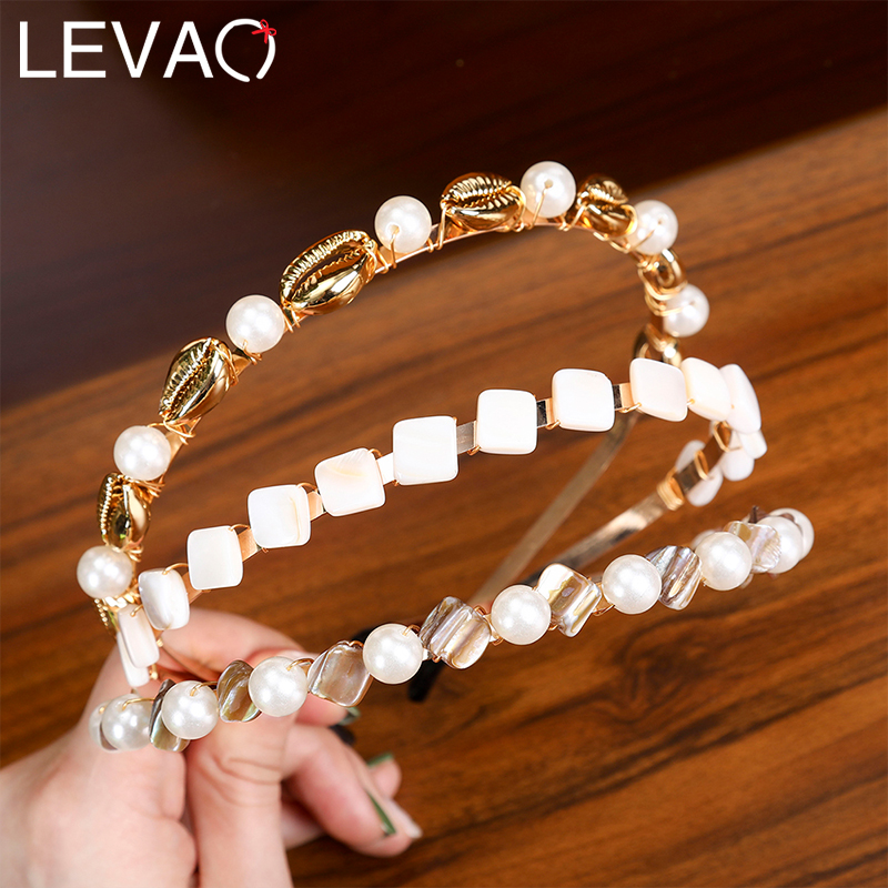 Levao Super Shinny Geometric Pearls Hairband For Super Immortal Girls Temperament Thin Alloy Headband For Women Hair Accessories