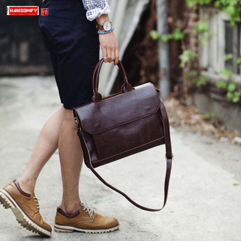2019 New Genuine Leather Men's Handbag Male Crazy Horse Leather Shoulder Slung Bag Business Computer Briefcase Messenger Bags
