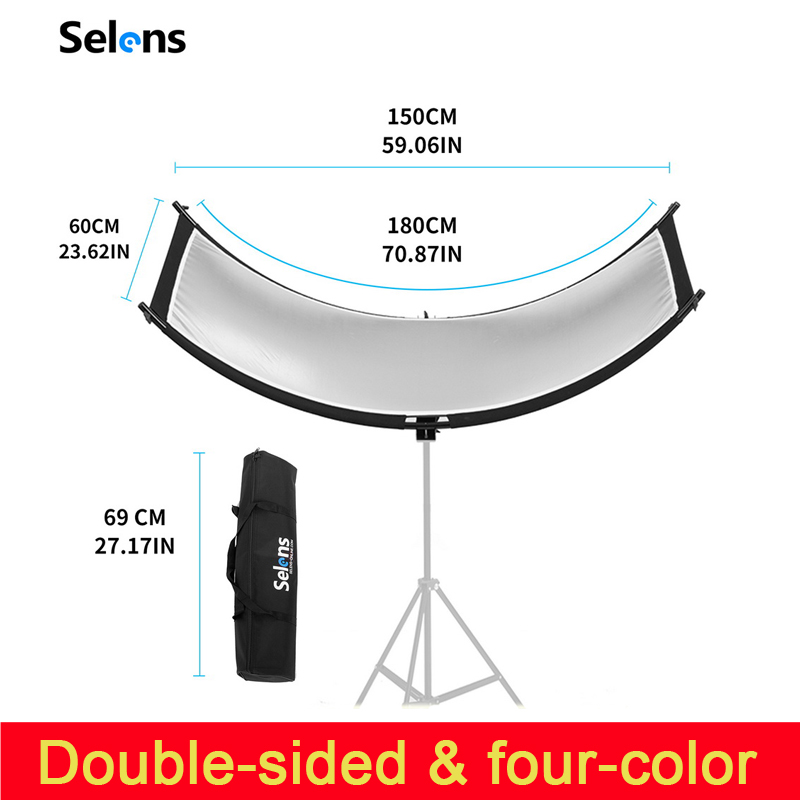 U typed Reflector flash reflector four color reflective Curved Reflector Portrait Headshot Sliver Black 90 Degree