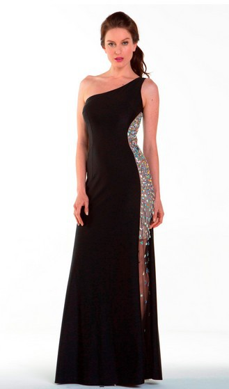 Free Shipping Maxi 2018 Dinner One Shouler Vestidos Formales Long Ball Gowns Crystal Sexy Black Evening Mother Of Bride Dresses