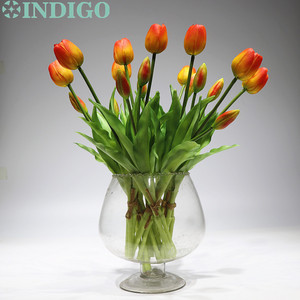 Image 1 - INDIGO   9 Bunch Real Touch Silicone Tulip High Quality Holland Orange Tulip Bouquet Home Artificial Flower Wedding Flower Party