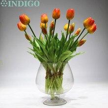 INDIGO   9 Bunch Real TouchซิลิโคนTulipคุณภาพสูงHollandสีส้มTulip Bouquetหน้าแรกประดิษฐ์ดอกไม้งานแต่งงานดอกไม้