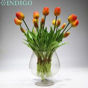 Image 1 - INDIGO   9 demet gerçek dokunmatik silikon lale yüksek kaliteli hollanda turuncu lale buket ev yapay çiçek düğün çiçek parti