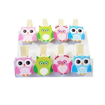 8pcs/lot Cartoon Owl Pattern Small Wooden Clips For Party And Room Photo Decoration Kawaii Wood