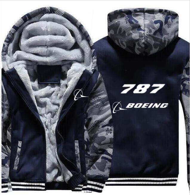 Boeing747-787 Boeing Tagless Shubuzhi Men Winter Padded Zipper Sweatshirt Thick Fleece Jacket Coat Fashion Hoodies Casual Hoody