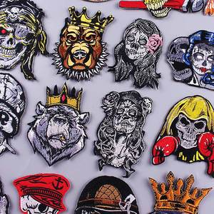 Zombie Bride Patch Skull Embroidered Patches For Clothing Stickers Iron On Patches Punk Patch Clothes Appliqued Sewing Supplies