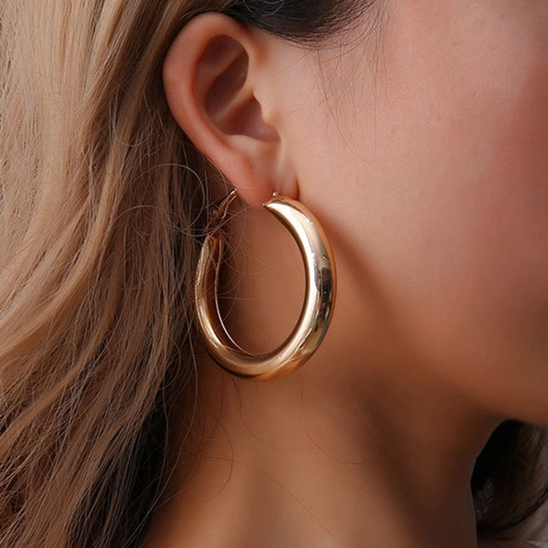 New Gold Color Circle Creole Earrings Stainless Steel Big Round Wives Hoop Earrings Gifts For Women OL Styles